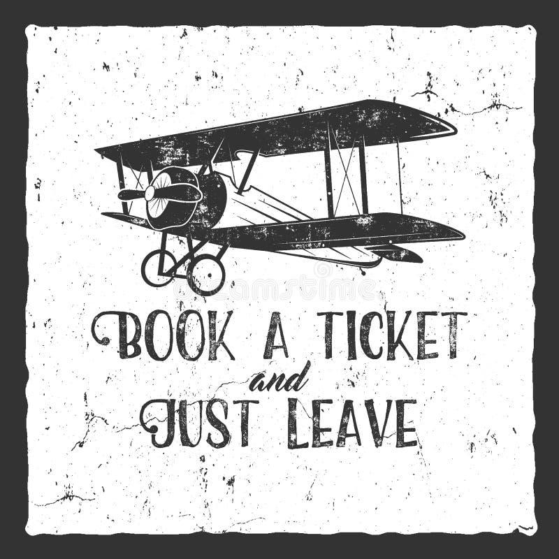 Affiche de typographie d'avion de vintage illustration de vecteur