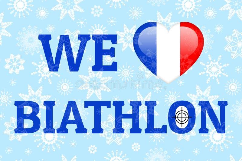 Affiche de vecteur de biathlon d'amour de Frances Coeur avec le drapeau national français Copie pour des vêtements, des drapeaux  illustration stock