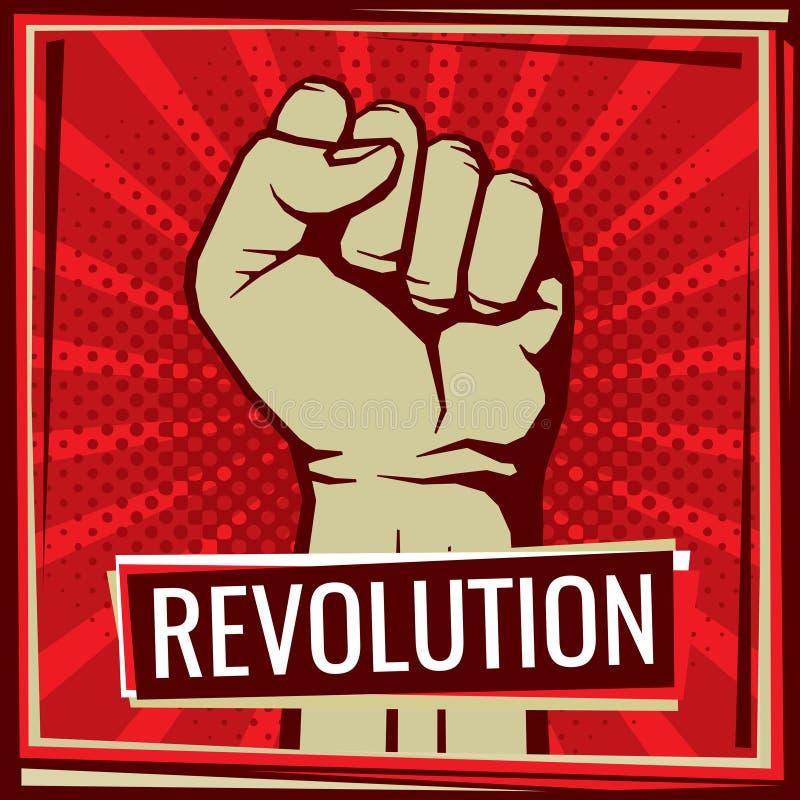 Affiche de vecteur de combat de révolution avec le poing de main de travailleur augmenté illustration libre de droits