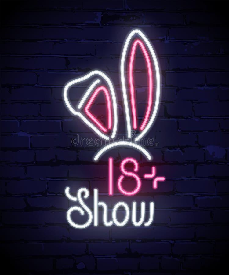 Affiche de vecteur d'enseigne au néon d'oreilles de lapins sur le fond bleu de brique illustration libre de droits