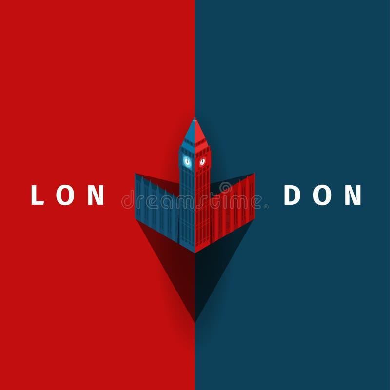 Affiche de vecteur de Londres avec Big Ben dans le style simple illustration de vecteur