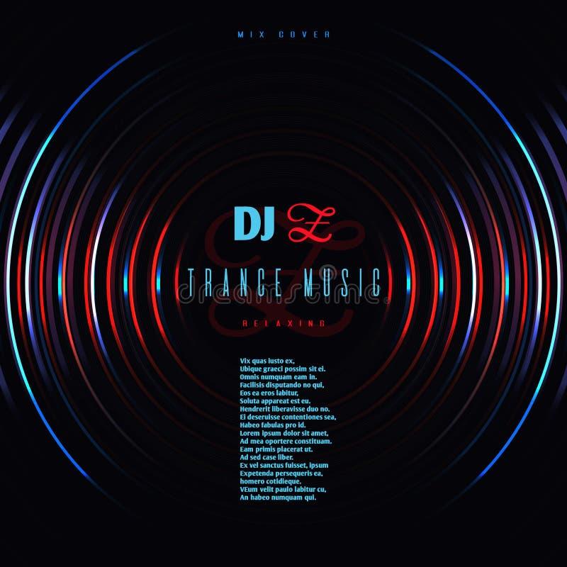 Affiche de vecteur de partie de club de musique de danse avec le disque de mélange de vinyle du DJ illustration stock
