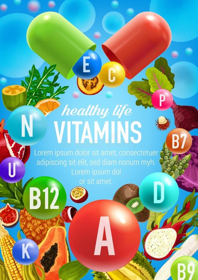 Affiche de vecteur des légumes et des vitamines de fruits illustration de vecteur