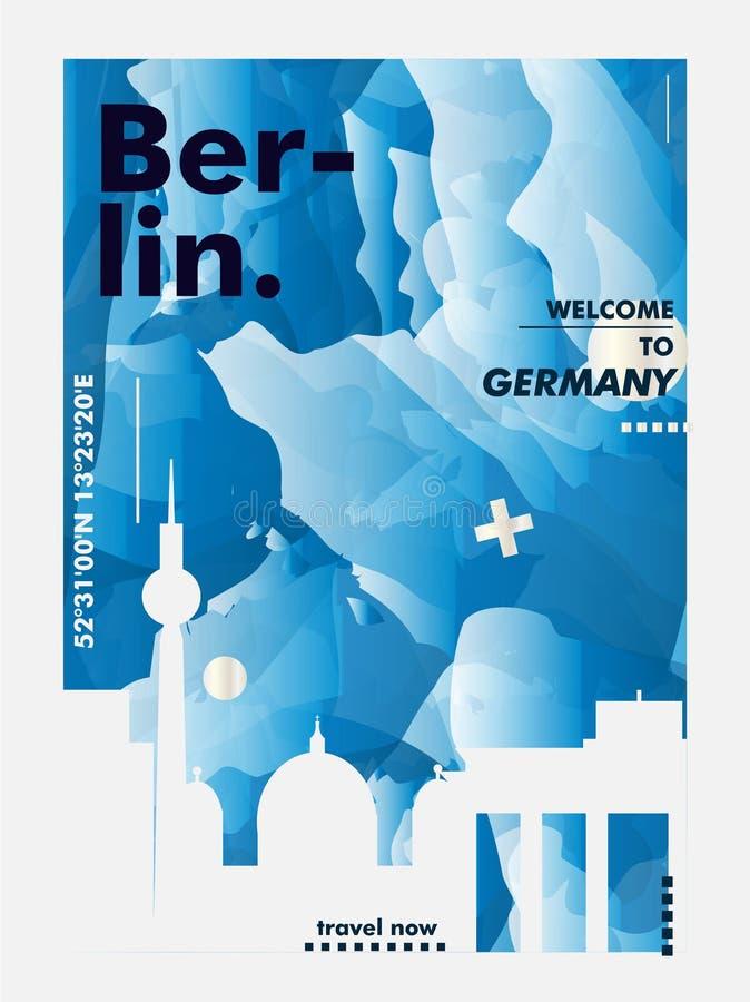 Affiche de vecteur de gradient de ville d'horizon de Gerlmany Berlin illustration libre de droits