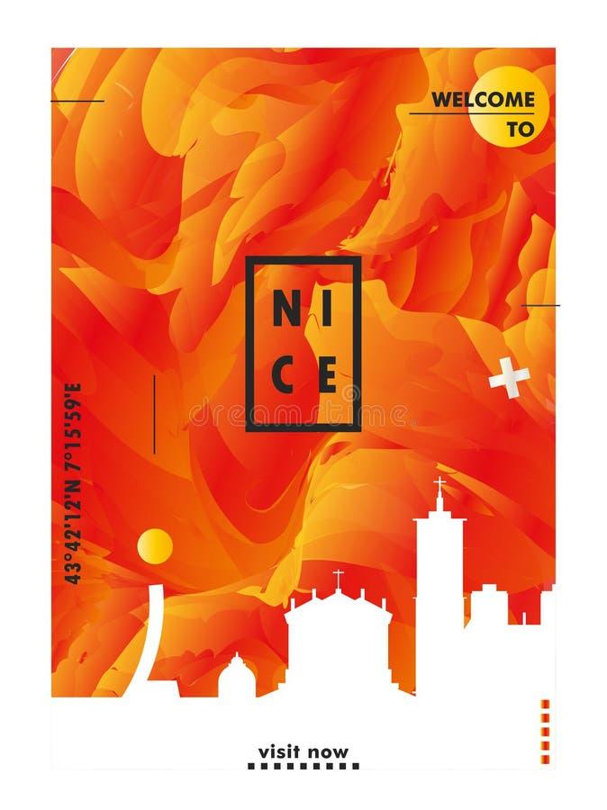 Affiche de vecteur de gradient de ville d'horizon de la France Nice illustration libre de droits