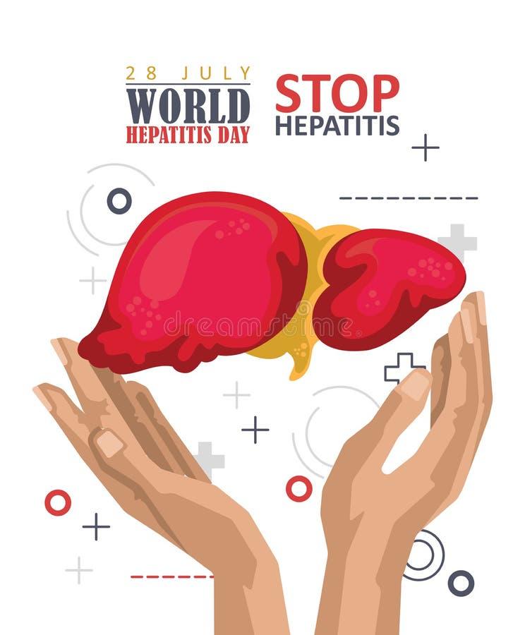 Affiche de vecteur de jour d'hépatite du monde dans la conception plate moderne sur le fond blanc 28 juillet illustration libre de droits
