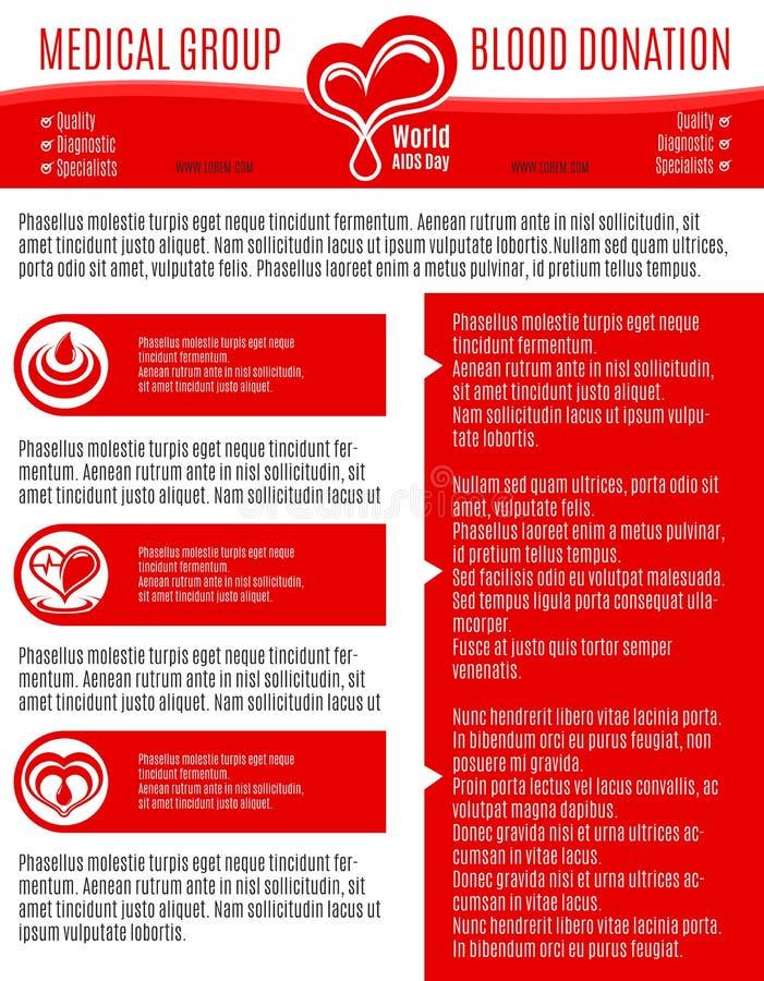 Affiche de vecteur pour le groupe médical de don du sang illustration stock
