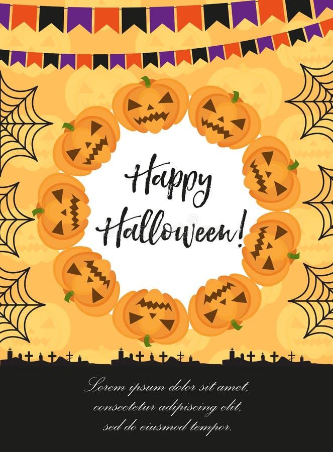 Affiche de Veille de la toussaint Les calibres heureux de Halloween pour votre invitation conçoivent, carte de voeux, insecte Ill illustration stock