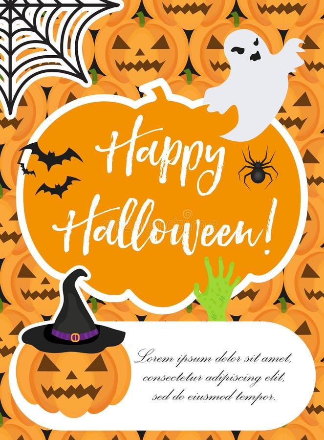 Affiche de Veille de la toussaint Les calibres heureux de Halloween pour votre invitation conçoivent, carte de voeux, insecte Ill illustration de vecteur
