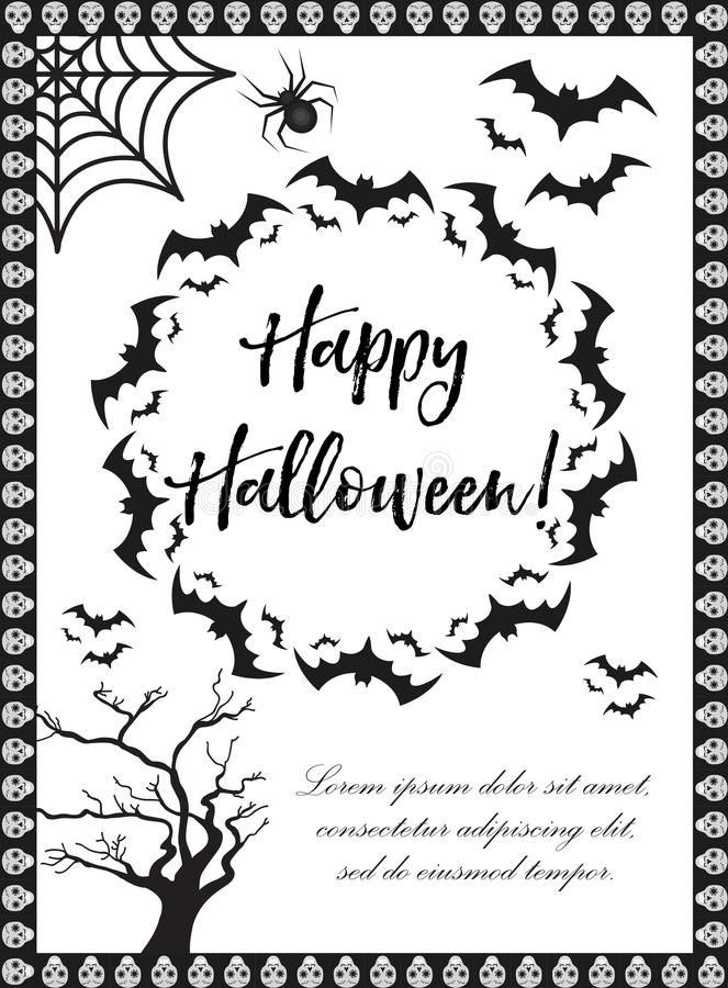 Affiche de Veille de la toussaint Les calibres heureux de Halloween pour votre invitation conçoivent, carte de voeux, insecte Ill illustration libre de droits