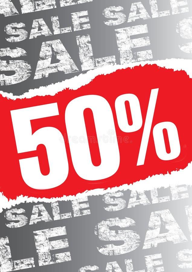 Affiche de vente avec arraché l'espace rouge pour le texte image libre de droits