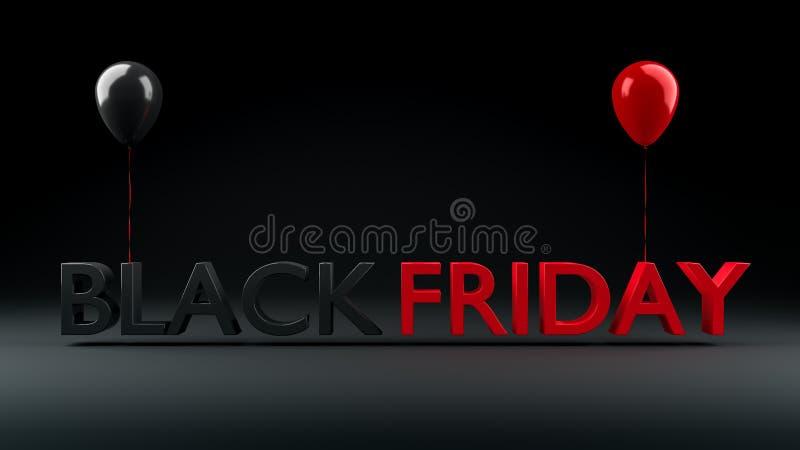 Affiche de vente de Black Friday avec les ballons brillants, 3D-Illustration illustration de vecteur