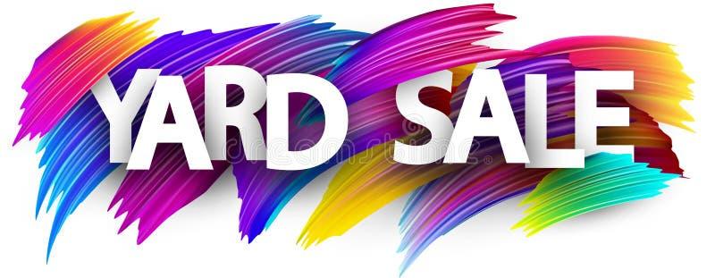 Affiche de vente de bric-à-brac avec les courses colorées de brosse illustration de vecteur