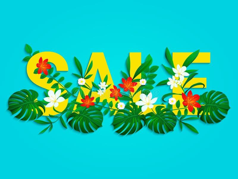 Affiche de vente d'été avec de belles, lumineuses feuilles tropicales, fleurs Fin d'une conception de vecteur de remise de saison illustration libre de droits