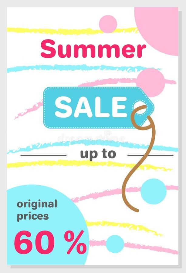 Affiche de vente d'été avec la remise 60 outre du vecteur illustration stock