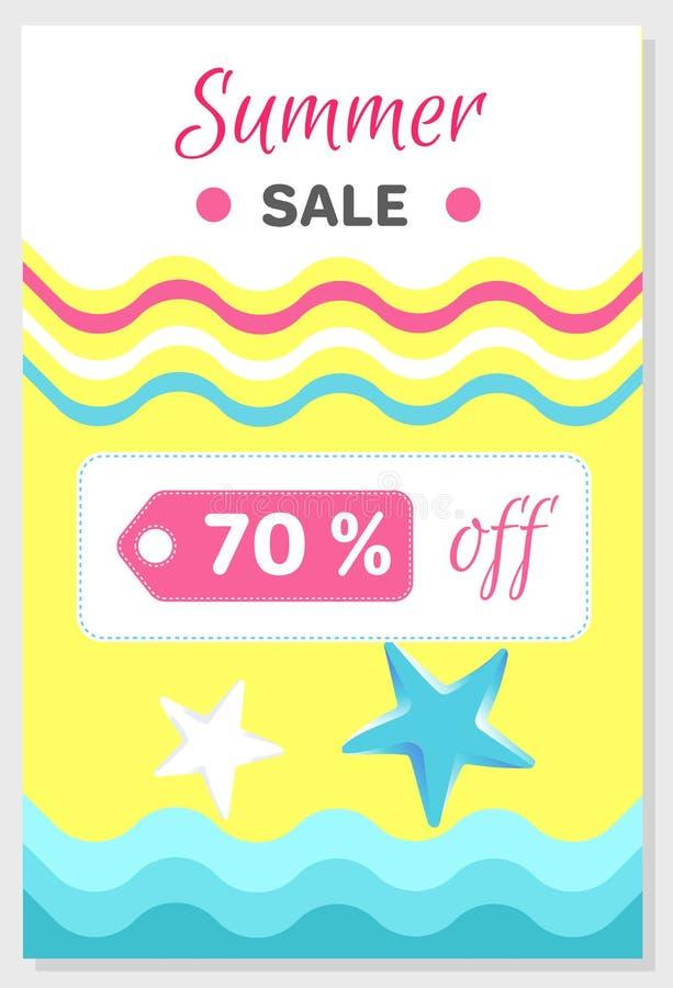 Affiche de vente d'été avec la remise 70 outre du vecteur illustration de vecteur