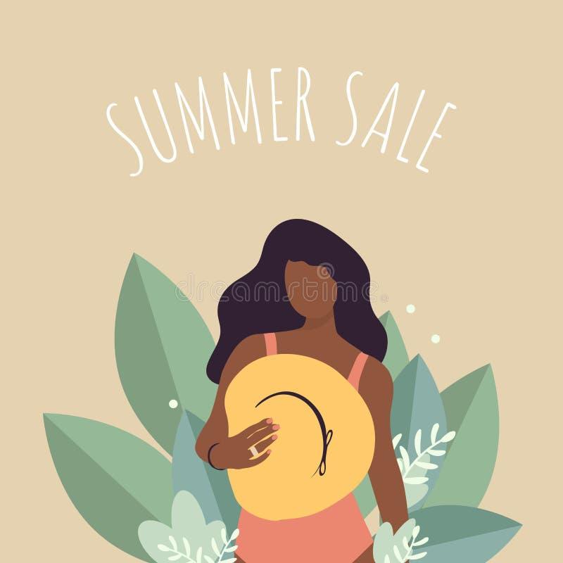 Affiche de vente d'été dans le style plat illustration libre de droits