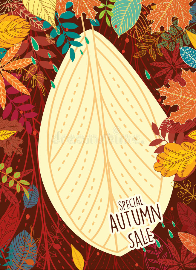 Affiche de vente d'automne avec des feuilles illustration libre de droits