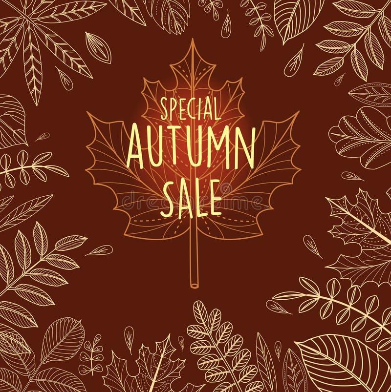 Affiche de vente d'automne avec des feuilles illustration stock