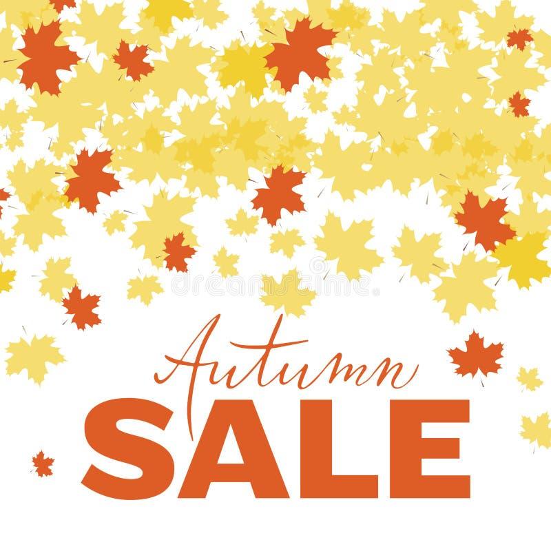 Affiche de vente d'automne, bannière, logo, imprimant pour le promo saisonnier, remise, offre spéciale Automne tiré par la main d illustration de vecteur