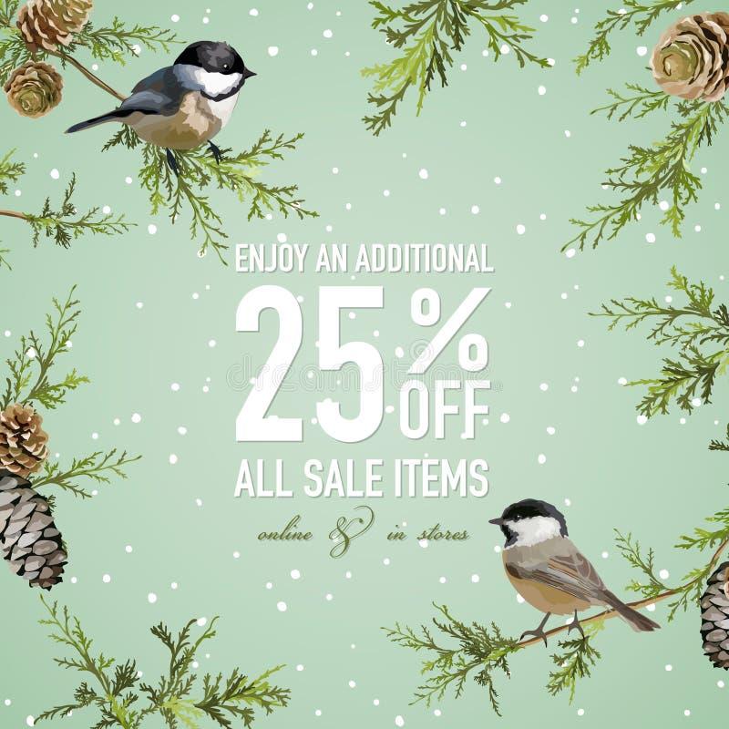 Affiche de vente de Noël avec l'oiseau d'hiver illustration de vecteur