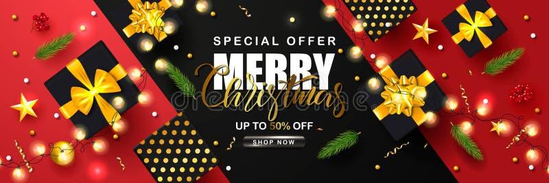 Affiche de vente de Joyeux Noël avec la serpentine, la guirlande, les branches de sapin, les boîte-cadeau, les étoiles de sorbe e illustration libre de droits