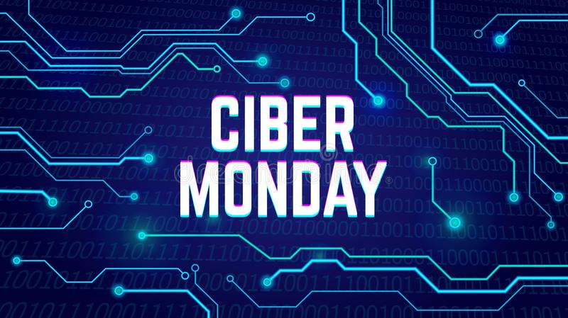 Affiche de vente de lundi de Cyber, bunner, invitation avec des impulsions électriques illustration libre de droits