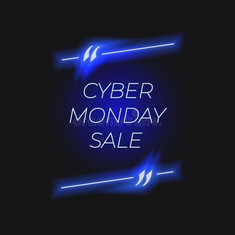 Affiche de vente de lundi de Cyber de vecteur, lettrage au néon, lumières rougeoyantes illustration stock