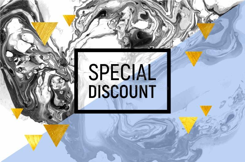 Affiche de vente Marbre noir et blanc Rayure bleue, triangles de feuille d'or Illustration de vecteur illustration de vecteur