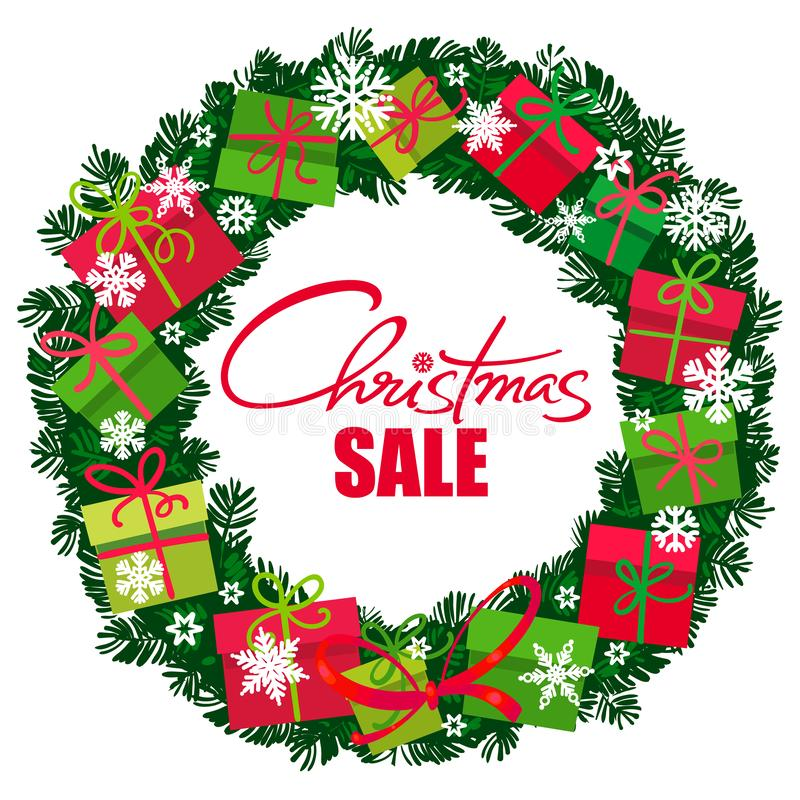 Affiche de vente de Noël Guirlande avec des boîte-cadeau et des flocons de neige Lattering manuscrit Vecteur illustration libre de droits