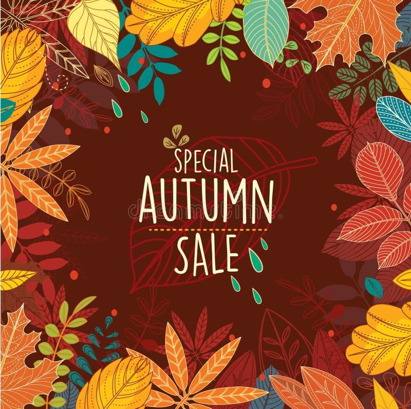 Affiche de vente spéciale d'automne avec des feuilles illustration stock