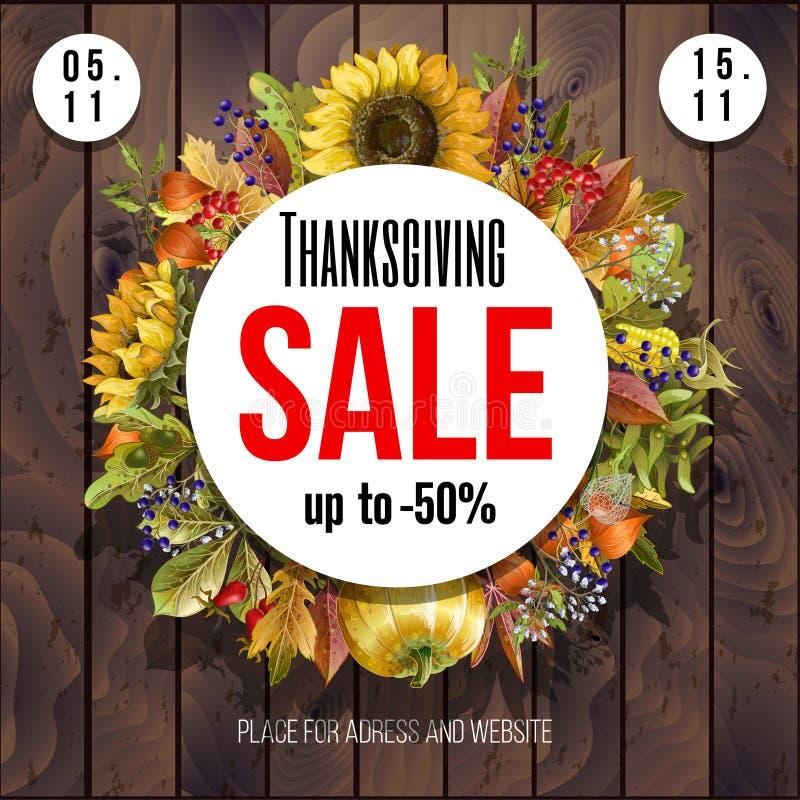 Affiche de vente de thanksgiving avec des feuilles d'automne, des potirons, des herbes et des tournesols sur le fond en bois Vect illustration libre de droits