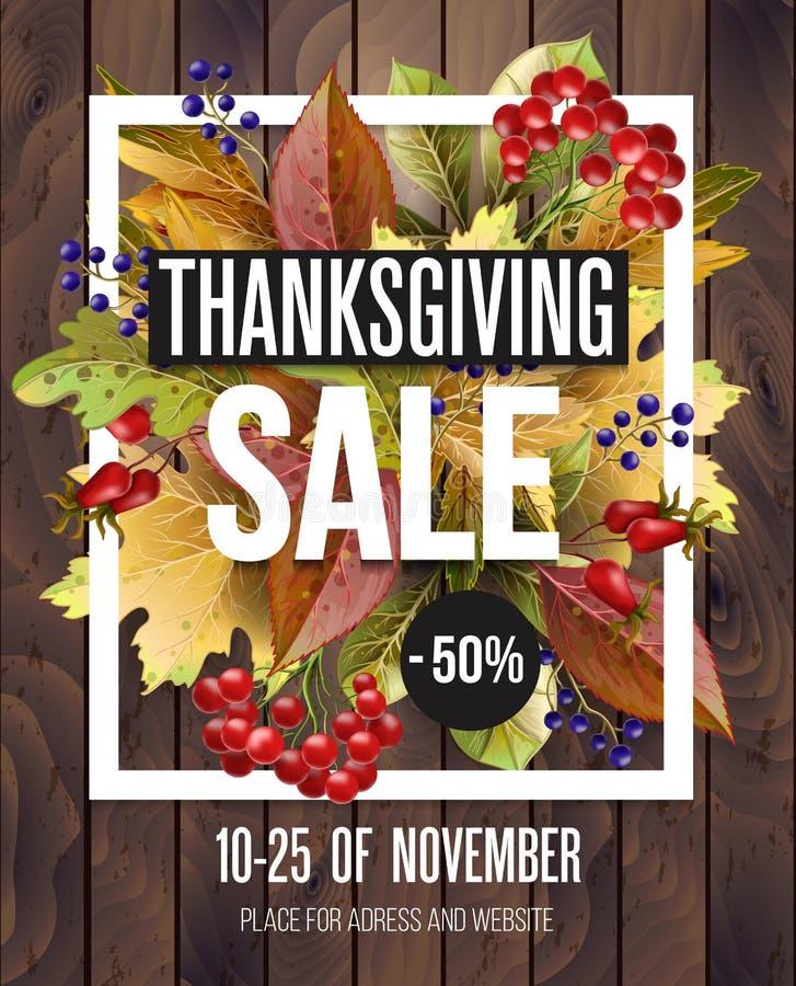 Affiche de vente de thanksgiving avec des feuilles d'automne sur le fond en bois Illustration de vecteur illustration stock