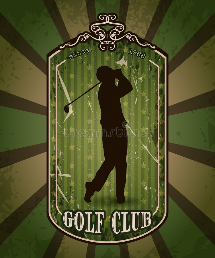 Affiche de vintage avec la silhouette de l'homme jouant le golf Rétro club de golf tiré par la main de label d'illustration de ve illustration libre de droits