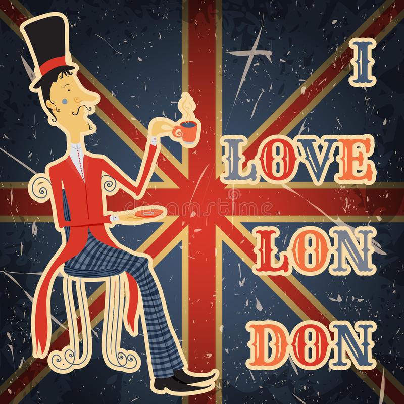 Affiche de vintage avec le monsieur anglais sur le fond grunge Rétro illustration dans le style de croquis 'j'aime Lond illustration de vecteur