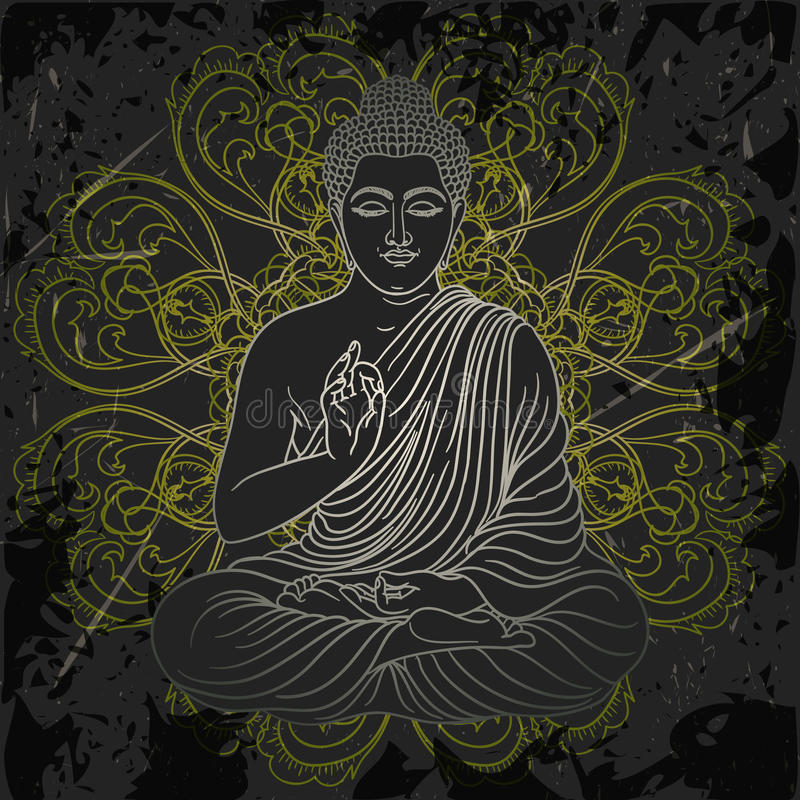 Affiche de vintage avec reposer Bouddha sur le fond grunge au-dessus du modèle rond de mandala fleuri illustration stock