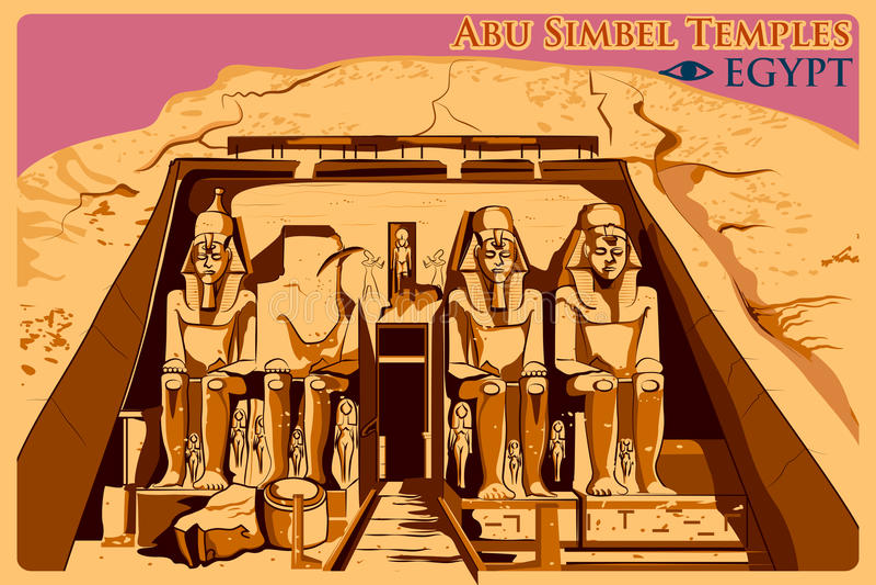 Affiche de vintage d'Abu Simbel Temples en monument célèbre de Nubia en Egypte illustration stock