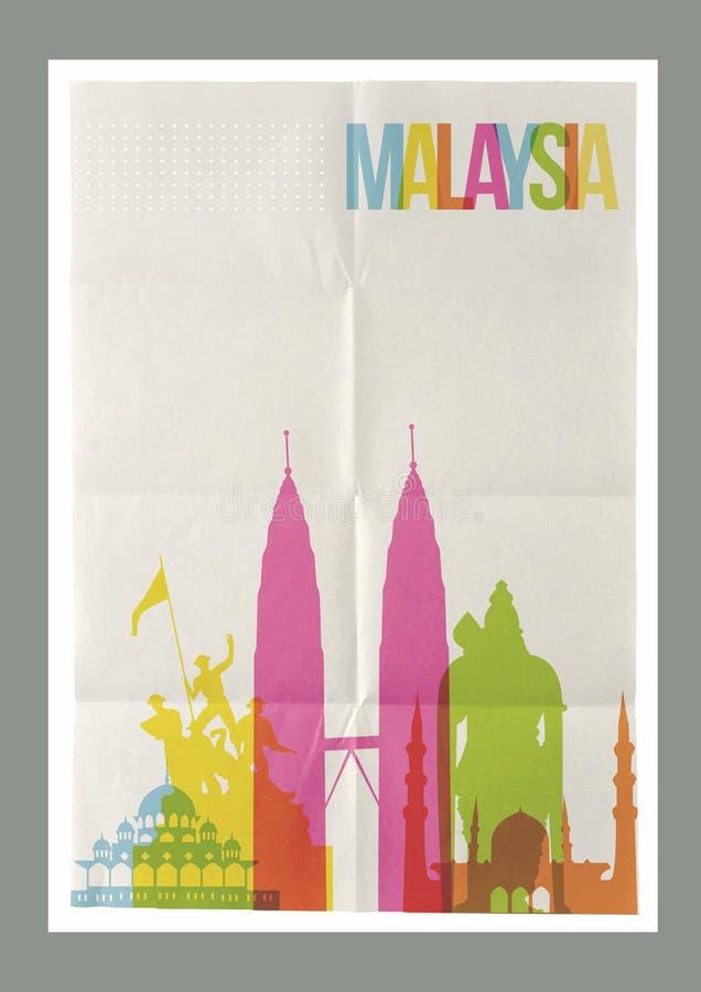 Affiche de vintage d'horizon de points de repère de la Malaisie de voyage illustration libre de droits