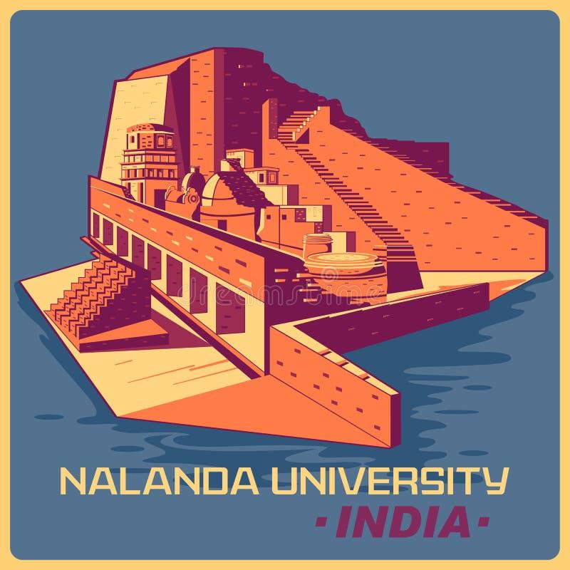 Affiche de vintage d'université de Nalanda en monument célèbre du Bihar d'Inde illustration stock