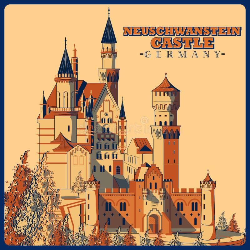 Affiche de vintage de château de Neuschwanstein en monument célèbre de Schwangau en Allemagne illustration de vecteur
