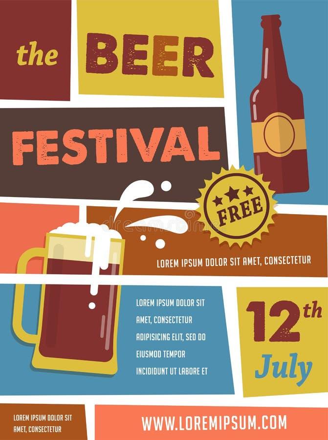 Affiche de vintage de festival de bière illustration libre de droits