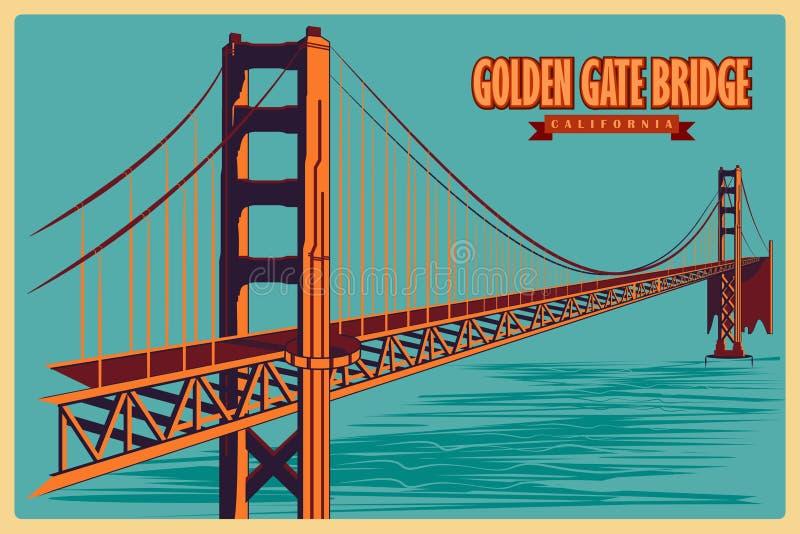 Affiche de vintage de golden gate bridge en monument célèbre de la Californie aux Etats-Unis illustration de vecteur