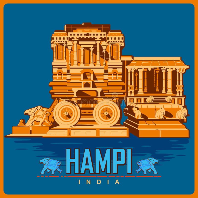 Affiche de vintage de Hampi en monument célèbre de Karnataka d'Inde illustration stock