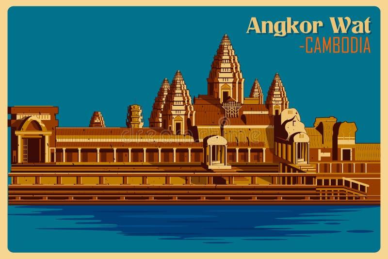 Affiche de vintage de monument célèbre d'Angkor Vat au Cambodge illustration de vecteur