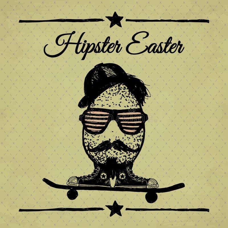 Affiche de vintage de Pâques de hippie avec l'oeuf sur la planche à roulettes. illustration de vecteur