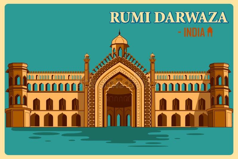 Affiche de vintage de Rumi Darwaza de monument célèbre de Lucknow d'Inde illustration de vecteur