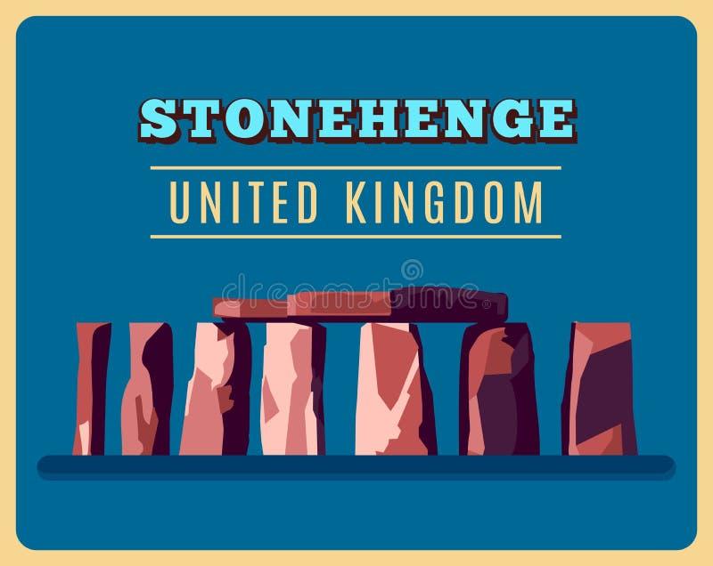 Affiche de vintage de Stonehenge Illustration de vecteur illustration de vecteur