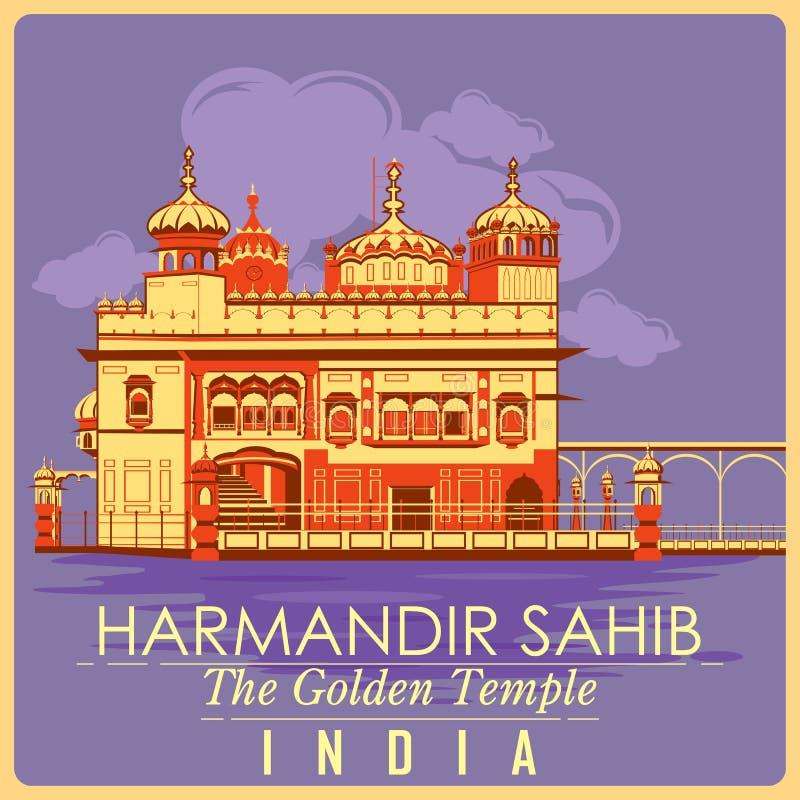 Affiche de vintage de temple d'or en monument célèbre d'Amritsar d'Inde illustration de vecteur