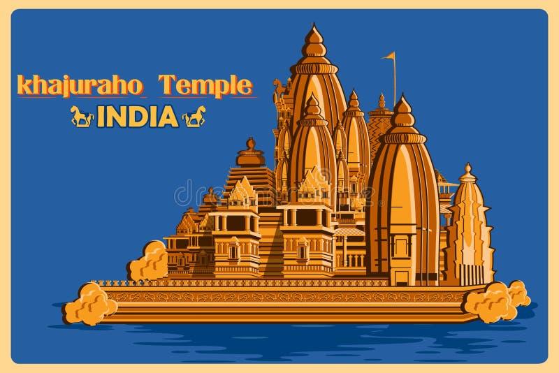 Affiche de vintage de temple de Khajuraho de monument célèbre de Madhya Pradesh d'Inde illustration de vecteur