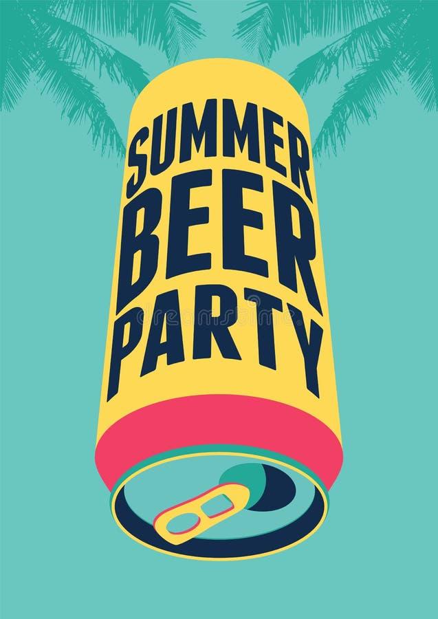 Affiche de vintage de typographie de partie de bière d'été Rétro illustration de vecteur illustration stock
